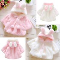 Baby Girl Shawl Rabbit Hair Hooded Winter Warm Coat Cartoon Lovely Clothes Lot
