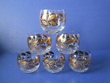 Vintage Roly-Poly Glasses W/ Gold Leaf Design. Set Of 6, Exc. Condition, Look !