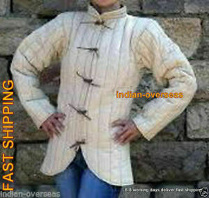 Thick padded White Gambeson aketon men role play movies theater medieval armor 6