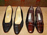 Bandolino WOMEN'S SHOES BLACK 8.5 M Croc Alligator Embossed Heels Bronze Pumps