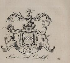 1779 ANTIQUE PRINT ~ STUART ~ FAMILY CREST COAT OF ARMS LORD CARDIFF