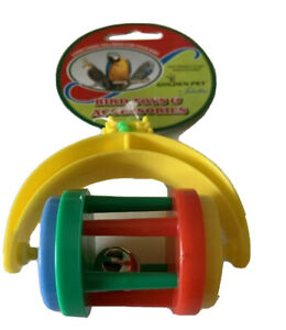 Bird Budgie Finch Canary Hanging Colourful Swivel Roller Rolling Bell Toy