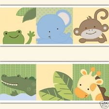 Jungle Animals Wallpaper Border Wall Decals Baby Safari Zoo Nursery Art Stickers