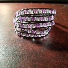 Leather Florence Scovel 4 Wrap Bracelet Purple & Clear Beaded & Brown