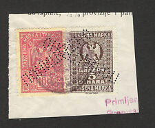 KINGDOM YUGOSLAVIA-FRAGMENT WITH REVENUE STAMPS 10 and 5 din.