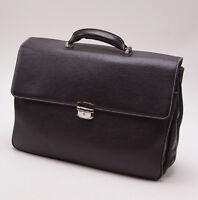 New $860 LA RANCIA Dark Chocolate Brown Pebbled Calf Leather Briefcase Italy