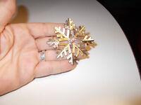Vintage Gold Tone Rhinestone Crystal Lg Snowflake Christmas Holiday Brooch Pin