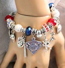 """Los Angeles Dodgers MLB Handmade Charm Bracelet 6 3/4"""" Adjustable,"""
