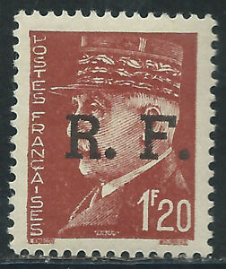 """France #438(1) 1942 1.2 fr red brown SURCHARGED """"R.F."""" MARSHAL PETAIN MNH"""