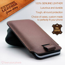 HTC 10✔Brown Luxury Leather Pull Tab Slide In Case Cover Sleeve Pouch