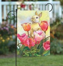 Toland Bunny Tulip 12.5 x 18 Cute Spring Summer Rabbit Flower Garden Flag