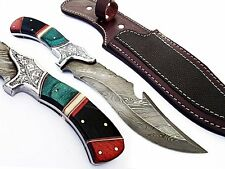 Damascus Steel Fixed Blade Hunting Knife Color Wood with Leather Sheath Handmade