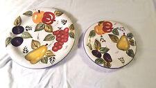Oneida Vintage Fruit DINNER DESSERT Plates 2 Hand Painted Apple Grapes Plum Pear