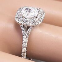 14k White Gold Cushion Cut Moissanite and Diamond Engagement Ring Bridal 1.50ctw