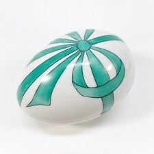 Limoges France Chamart Peint Main Turquoise Ribbon Porcelain Egg Box Pretty