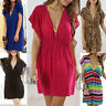 AU SELLER V-Neck Beach Bikini Cover Swimwear Tunic Kaftan Top Mini Dress t095