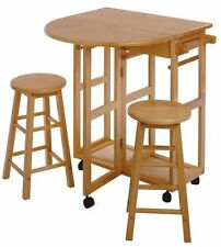 Natural Color Space Saver Drop Leaf Table With 2 Round Stools by Winsome Wood