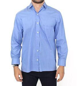 ERMANNO SCERVINO Blue Cotton Dress Classic Fit Shirt S. IT38 / US15 / S