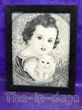 Cadre Ancienne Carte Postale 15,5x19cm Artisanat Inde 53x1