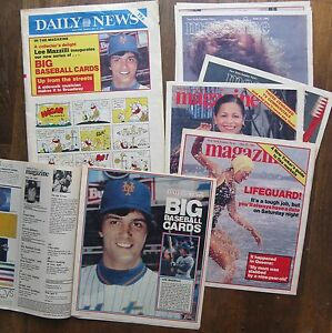 New York Daily News BIG BASEBALL CARDS magazine-posters METS & YANKEES 1981