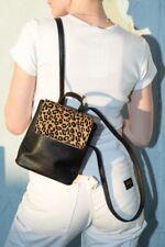 brandy melville black faux leather cheetah mini backpack NWT