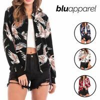 Ladies Fashion Retro Zip Up Bomber Womens Jacket Black UK SIZE 8 10 12 14 16