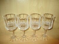 4 Vintage Crystal Clear Wine Glasses/Goblet Stemware Barware 7""