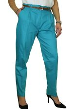 Ice Chino Pleated Tapered Cigarette Leg Trousers Belt 8-22 Turquoise Blue 22