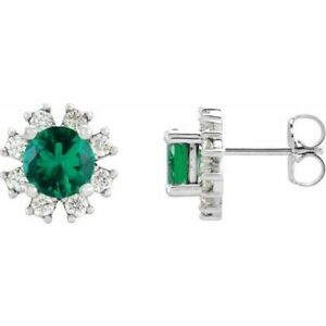 Chatham Created Emerald & .08 CTW Diamond Earrings In 14K White Gold