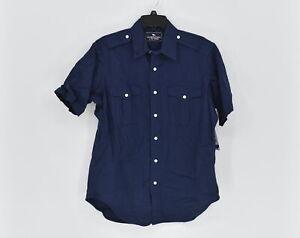 Men's American Living Short Sleeve Button up Work Shirt, Navy Blue, Size Medium