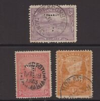 Tasmania 3 x pictorial issues with T perfin