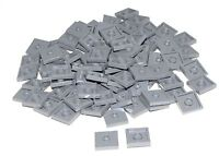 Lego Lot of 100 New Dark Bluish Gray Plates Modified 2 x 2 Groove 1 Stud Jumpers