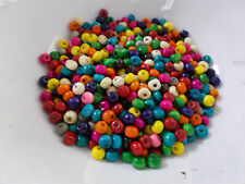 600pcs 6mm WOODEN Round Spacer Beads -  ASSORTED / MIXED COLORS