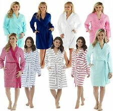 Ladies Long Lightweight Summer Jersey Bath Robe 100% Cotton Dressing Gown Girls