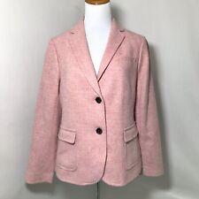 Talbots Heather Pink 2 Button Wool Blend Blazer Lined Sz 10