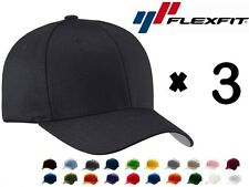 3-PACK NEW FLEXFIT 6277 Structured Twill Baseball Hat FITTED Sport Cap S/M L/XL