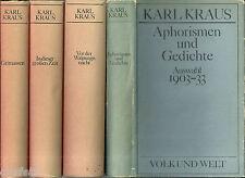 Kraus, Karl: Ausgewählte Werke. 4 Bände; Grimassen, Walpurgisnacht, Aphorismen