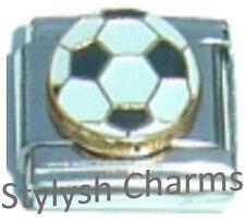 SOCCER BALL Enamel Italian Charm 9mm Link - 1 x SP004 Single Bracelet Link