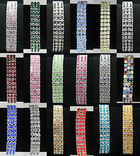 Factory Outlet Price Fashion Hot Lot 3 Rows Colors Crystal Rhinestone Bracelets