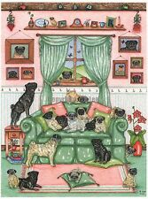 28 Pugs   Watercolour/ink Painting  by Bridgette Lee pug dog