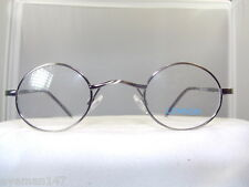 LENNON, SMALL ROUND ANTIQUE SILVER EYEGLASS FRAME