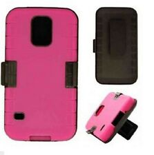 SAMSUNG GALAXY S5 NOVELTY CASE. 2 IN 1 MAGENTA / BLACK HYBRID WITH HOLSTER