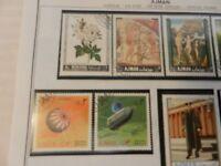 Lot of 8  Ajman Stamps, Flowers, Eisenhower, Art, Space, King Herod