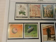 Lot of 8  Ajman Stamps, Flowers, Eisenhower, Art, Space, King Herod