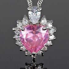 Xmas Fashion Jewelry Gift Heart Cut Pink Sapphire White Gold Gp Pendant Necklace