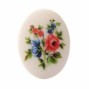 Vintage Limoges style porcelain picture cabochon garden flowers 40x30mm