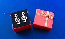 Treble Clef Silver Music Note Cufflinks Musician Cuff Links Instrument Band Gift