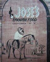 Vintage Mexican Spanish Restaurant Menu Jose's K Street Bakersfield CA 1950-60s