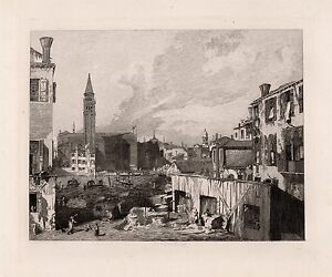 """Remarkable CANALETTO 1800s Antique Etching """"View in Venice"""" SIGNED Framed COA"""