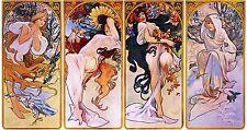 "Four Seasons by Alphonse Mucha, Giclee Canvas Print, 8.5""x16"""
